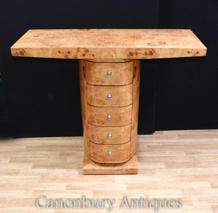 Art Deco Console Table Chest Drawers Blonde Walnut