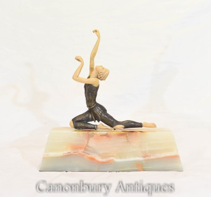Art Deco Dancer Figurine - Metal Ivorine Onyx Base