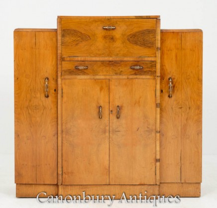 Art Deco Drinks Cabinet - Maple Cocktail Chest 1930