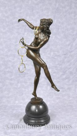 Art Deco Bronze Statue - Hoop Dancer Figurine by Colinet