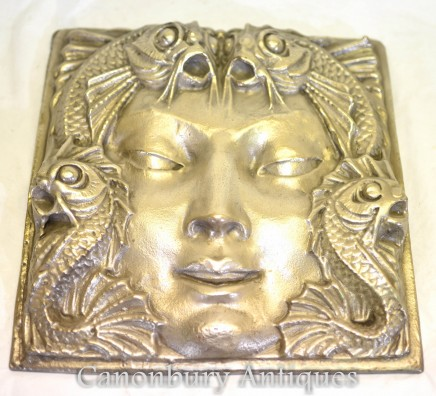 Art Deco Lalique Plaque - Silver Bronze Wall Hanging Fountain
