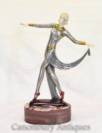 Art Deco Lorenzl Exotic Dancer Statue - Pewter Figurine