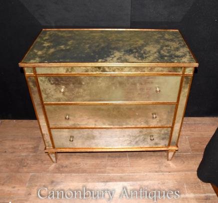 Art Deco Mirrored Chest of Drawers Antiqued Glass Mirror Commode