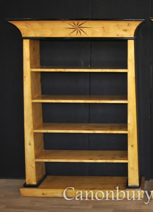 Art Deco Open Front Bookcase - Blonde Walnut Furniture Inlay