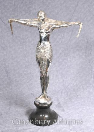 Art Deco Bronze Chiparus Dancer Statue - Silver Plated Signed Casting