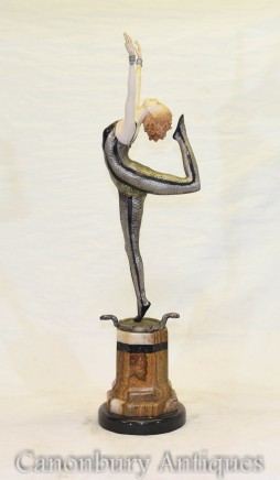 Art Deco Snake Dancer by Poertzl Bronze Ivorine