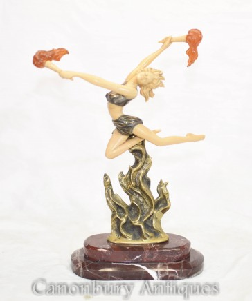 Art Deco Statue by F Preiss Flame Leaper Dancer Figurine