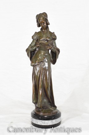 Art Nouveau Bronze Figurine - French Reading Girl Statue