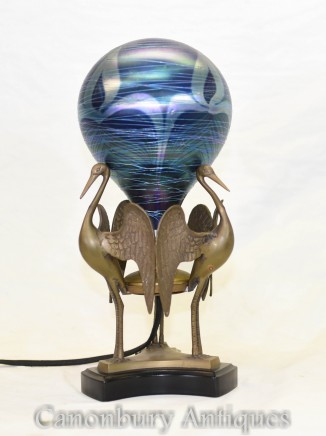 Art Nouveau Swan Lamp - Metal Table Light