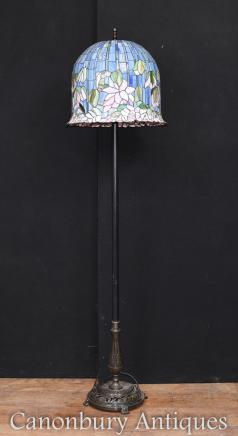 Art Nouveau Tiffany Floor Lamp Glass Shade Light