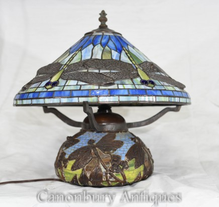 Art Nouveau Tiffany Table Lamp - Dragonfly Shade