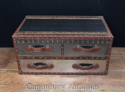 Aviator Luggage Trunk - Metal Steamer Box Case Side Table