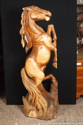Big French Hand Carved Horse Sculpture Statue Pony Art