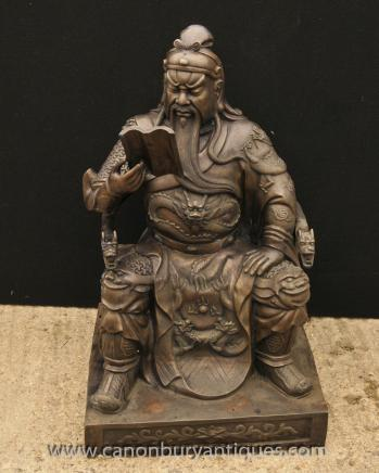 Big Japanese Bronze Statue Reading Man Emperor Shogun Samurai Warrior