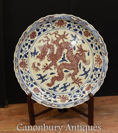 Big Chinese Porcelain Dragon Plaque Plate - 3 feet 96 CM