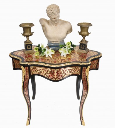 Boulle Side Table French Louis XVI Shaped Desk