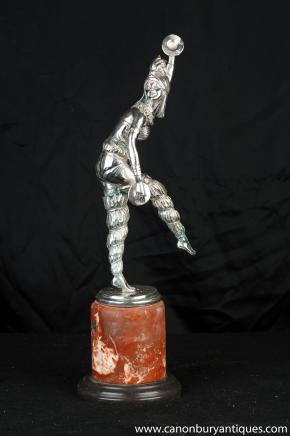 Bronze Art Deco Harlequin Dancer by Chiparus Figurine Statue