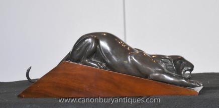 Bronze Art Deco Panther Cat Statue Casting