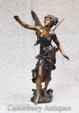 Bronze Art Nouveau Statue By Moreau - Winged Fairey Figurine Angel