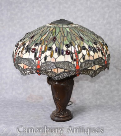 Bronze Art Nouveau Tiffany Table Lamp Dragonfly Lights