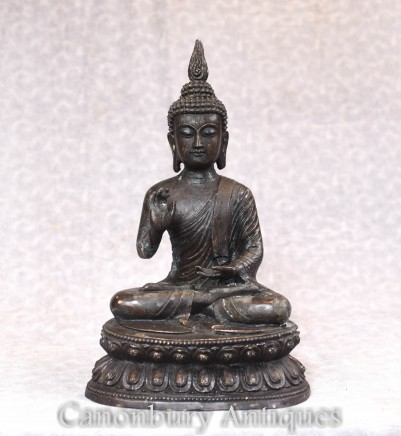Bronze Buddha Statue - Tibetan Buddhist Sculpture Meditation Pose