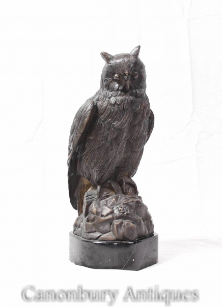 Bronze Owl Bird Statue - Casting of Hawk  Bronzes Birds Prey