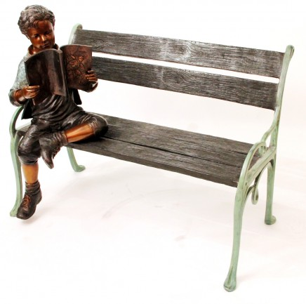 Bronze Garden Bench - Seated Boy Statue Casting