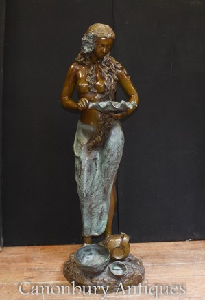 Bronze Maiden Fountain Statue - Semi Nude Female Water Feature