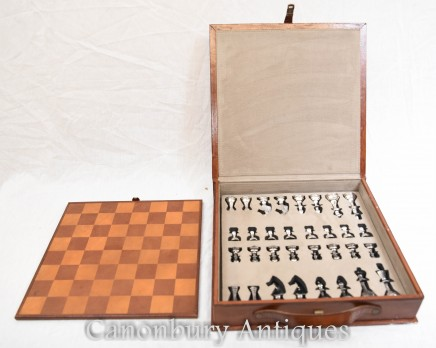 Campaign Chest Board and Set - Leather Box Silver Plate Queen Pieces