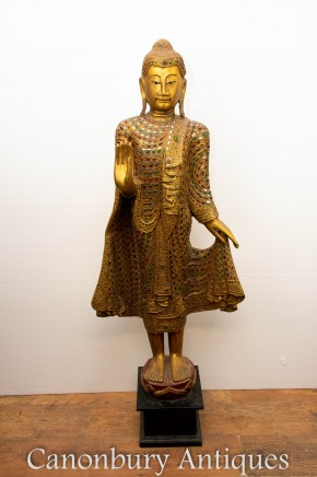 Carved Burma Buddha Statue - Buddhist Interiors Buddhism Sculpture