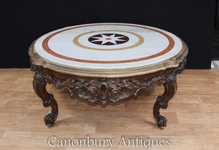 Italian Rococo Coffee Table - Carved  Round Marble Top