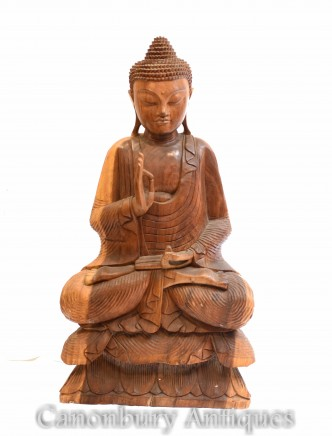 Carved Tibetan Buddha Statue - Buddhism Lotus Pose Art