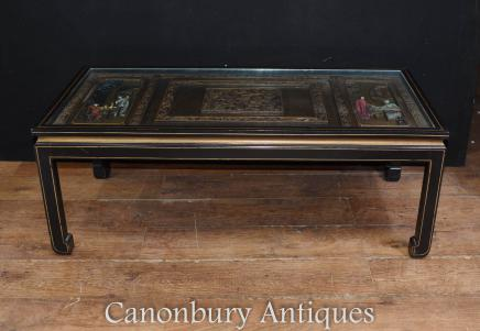 Chinese Black Lacquer Coffee Table Chinoiserie