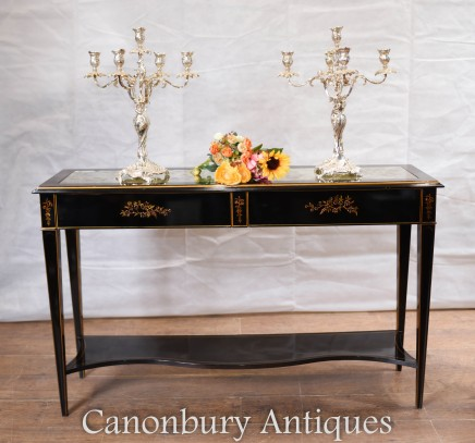 Chinese Black Lacquer Console Table with Chinoiserie