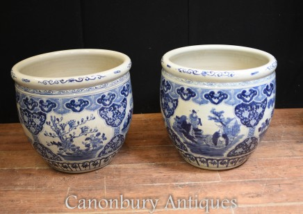 Chinese Blue and White Porcelain Planters - Kangxi Pots