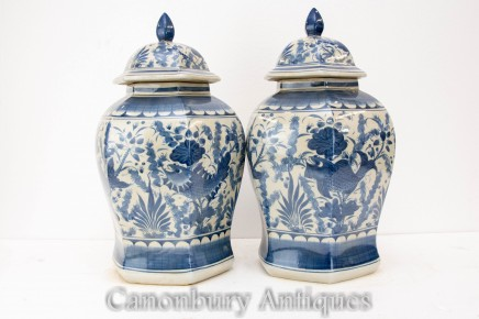 Chinese Blue and White Porcelain Temple Jar Urns Vases