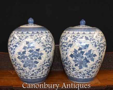Chinese Blue and White Porcelain Urns Floral Arabesque Pots