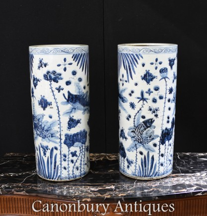 Chinese Blue and White Porcelain Vases Urns - Ming China