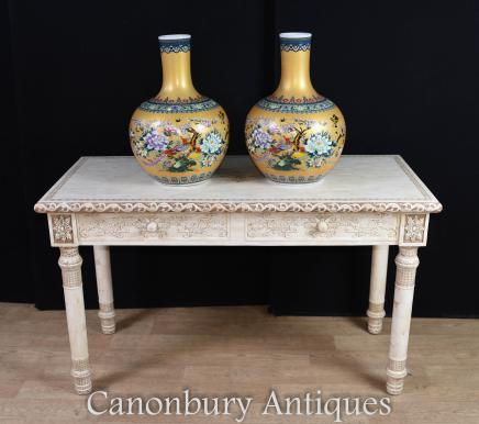 Chinese Hand Carved Library Table Bone Desk