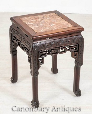 Chinese Hardwood Table - Antique Urn Pedestal Stand 1870