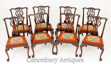 Chippendale Dining Chairs - Antique Mahogany Set 8