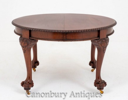 Chippendale Dining Table Mahogany Extending Antique