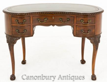 Chippendale Kidney Bean Desk Writing Table Mahogany