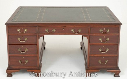 Chippendale Partners Desk in Mahogany Circa 1880