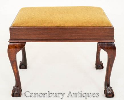 Chippendale Stool in Mahogany - Ball and Claw Feet