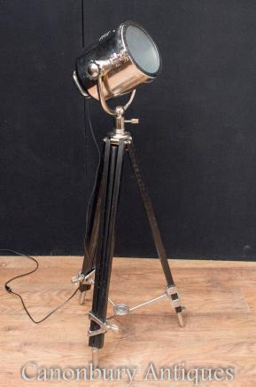Chrome Studio Light Tripod Floor Lamp Adjustable Stand Lighting