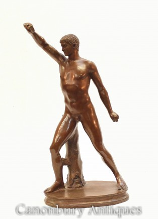 Classical Bronze Roman Athlete Statue - Grand Tour Nude Figurine