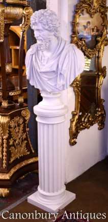 Classical Greek Philosopher Bust Epicurus on Column Stand
