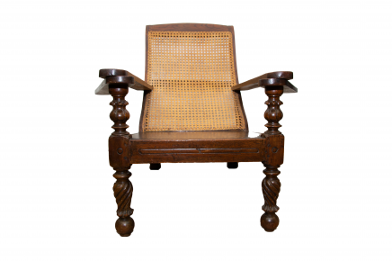 Colonial Planter Chair - Walnut and Weaved Back Armchair