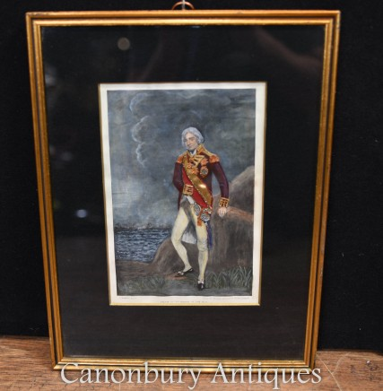 Coloured Framed Print Lord Nelson Vice Admiral Blue Picture